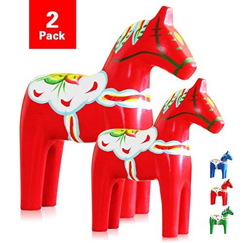 Yundxi Paar Holz Schweden Pferd Dalapferd Figur Dekofigur Deko Figuren Statue Tierfiguren Ornamente
