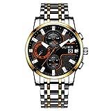 Relojes para Hombres Moda Impermeable Relojgenuino Tendencia Relojcasual de Cuarzo para Hombres Relojde Acero Inoxidable