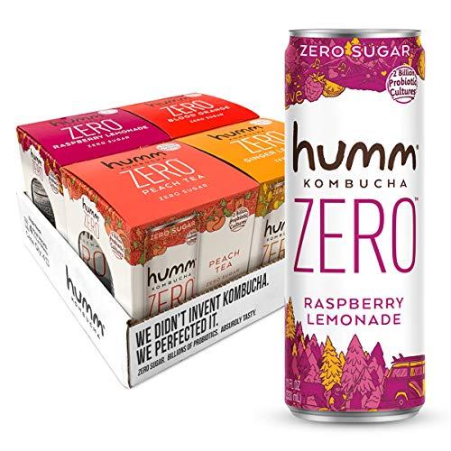 Humm Kombucha Zero Sugar Variety Pack - Live and Raw Kombucha - No Refrigeration Needed - Vegan, Gluten-Free - Variety Pack 11oz Cans (16 Pack)