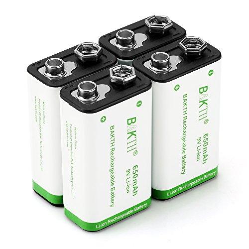 BAKTH 9V Erweiterte Li-Ionen Batterie 9 Volt 650mAh mit hoher Kapazität geringe Selbstentladung Lithium-Ionen Akkus (4 Stück)