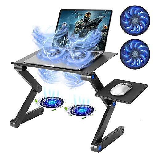TXG Laptop Table, Laptop Cooling Frame, Laptop Adjustable Aluminum Stand, Double Fan and Mouse Board, Universal Laptop, Suitable for Sofas, Beds, etc, Ergonomic Design (Black)