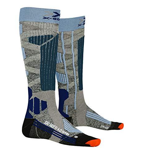 X-Socks Ski Rider 4.0 Women Invierno Calcetines De Esquí, Mujer, Stone Grey Melange/Mineral Blue, 39/40