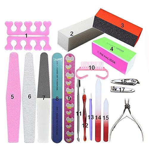 REGAL-HPQ 18 pcs Kit de Nail Art, Edge Nails Pince à Cuticules Métallique Décoration Ongle d'art pour la Manucure, la Maison et Un Salon,18 pcs
