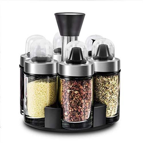 XuuSHA 6 tarros Organizador Giratorio para Especias Caja de Sal Juego de condimentos Soporte para tarros de Especias contenedores de Almacenamiento estantes para Especias Botellas