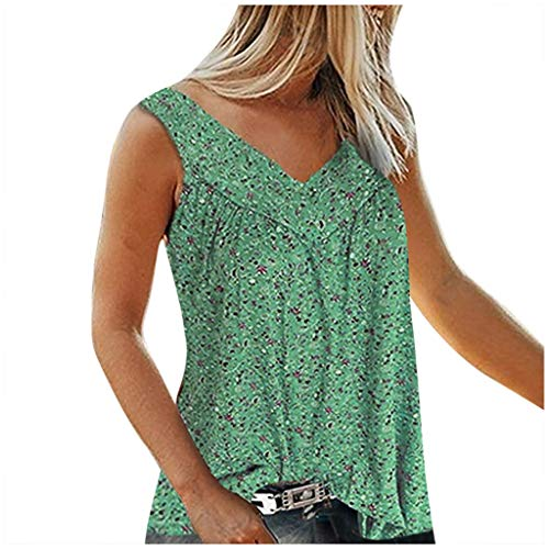 SEEGOU Damen Bluse Fashion Frauen Plus Size Tank Tops V Kragen gedruckt gebrochene Blumen ärmelloses Freizeit-Shirt Tops S-7XL