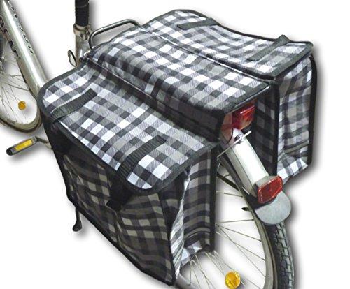 Dubbele bagagetas, fietstas, bagagedragertas, zadeltas, 2-vaks, fietstas (klein ruitpatroon)