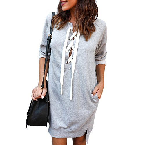 PARTY LADY Women's Long Fleece Sweatshirt String Hoodie Dress Pullover Plus Size XL Grey