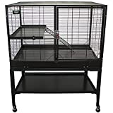 New! Durable All-Metal Mansion Cage for Chinchillas, Rats, Ferrets, Degus (2-Level)