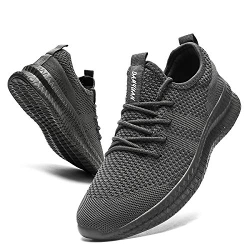 CAIQDM Schuhe Herren Laufschuhe Sneaker Outdoor Sportschuhe Turnschuhe männer Joggingschuhe atmungsaktiv Running Shoes Men Walking Schuhe Freizeitschuhe Fitness Schuhe, Dunkelgrau, 44 EU
