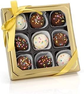 Confetti Belgian Truffle Cake Bons- Gold Gift Box of 9 (Vanilla)