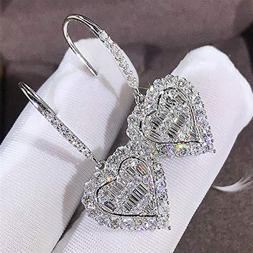 Pendientes de lujo femenina de cristal blanco pendientes de gota clásicos de color plata pendientes de boda para las mujeres de moda amor corazón pendientes pendientes de tuerca