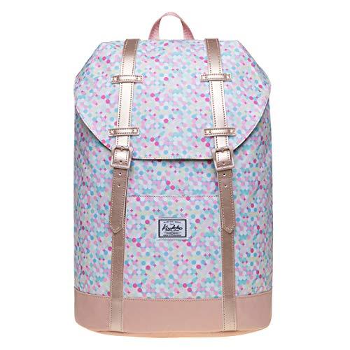 KAUKKO Rucksack Damen Schön und Praktisch Frisky Pink Reiserucksack mit Laptopfach für 12