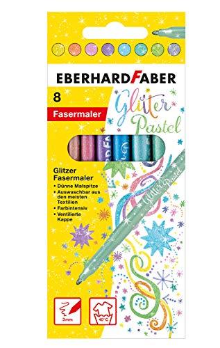 Eberhard Faber 551009 - Glitzer Filzstifte in 8 intensiven Pastell-Farben, Minenstärke 3 mm, auswaschbar im Kartonetui, zum Verzieren, Zeichnen, Basteln und Schreiben