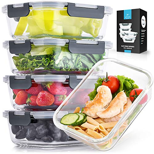 Zulay 5Pack 36 Oz Food Storage Container With Lids  Airtight Snap Lock Glass Container  BPA Free Meal Prep Container Glass Storage Set  Microwave amp Dishwasher Friendly Glass Food Container