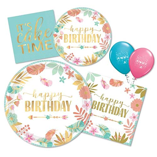 Boho Chic Birthday Girl Party Supplies Pack of Paper Plates & Napkins for 16 in Blue, Pink, Peach & Gold Metallic Foil by Amscan