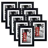 Eono Amazon Brand Marcos de Fotos Negros con paspartú Blanco de sobremesa o Pared, 10 x 15cm (Paquete de9)