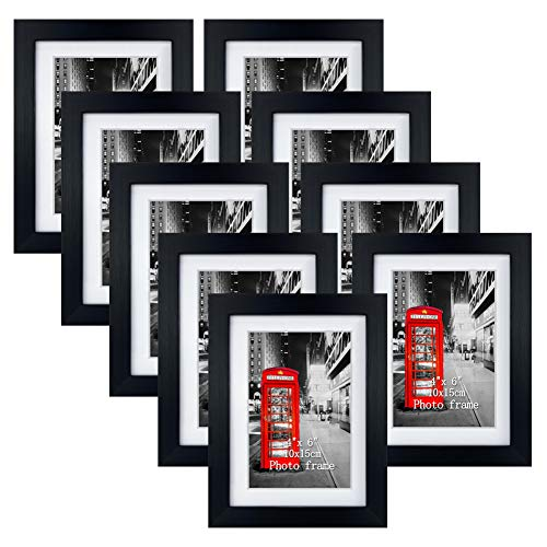 Eono Amazon Brand Schwarze Bilderrahmen 10x15 cm mit Glas und weißem Passepartout, wandhängend oder freistehend, 9er Set