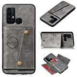 Smfu Case for Huawei Honor 9X Wallet Phone Case Leather Wallet Back Cover Folio Flip Card Holder Non-Slip Casewith ID Credit Card Slot Holder (3 Card Pockets) with Screen Protector (Grey)