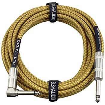 GLS Audio Guitar Cable - Amp Cord for Bass & Electric Guitar - Straight to Right Angle 1/4 Inch Instrument Cable - Brown/Yellow Braided Tweed 20ft