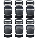 """EesTeck 6 Set 1.5 Inch Flat Dual Adjustable Plastic Quick Side Release Plastic Buckles and Tri-Glide Slides for Luggage Straps Pet Collar Backpack Repairing (Black, Fit for 1.5""""/38mm Webbing Straps)"""
