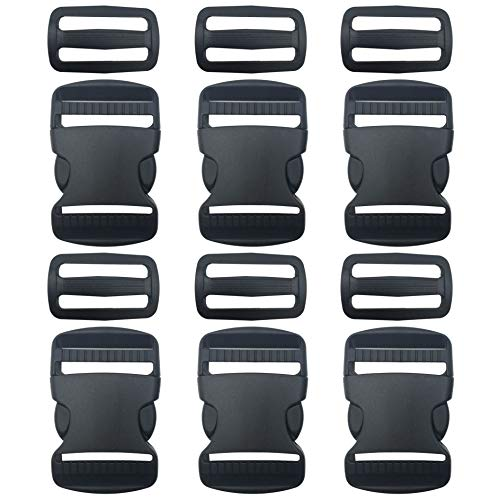 EesTeck 6 Set 1.5 Inch Flat Dual Adjustable Plastic Quick Side Release Plastic Buckles and Tri-Glide Slides for Luggage Straps Pet Collar Backpack Repairing (Black, Fit for 1.5