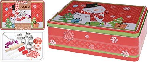 Metalldose mit Zubehör zum Backen für Weihnachten / Backset mit Teigschaber, Pinsel, Spritzbeutel und Formen