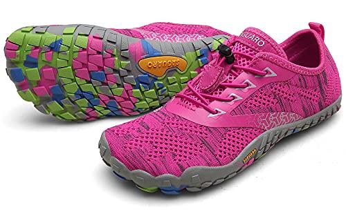 SAGUARO Barfußschuhe Herren Damen Traillaufschuhe Leicht Training Fitnessschuhe Wander Wald Strand Straßenlaufschuhe Outdoor & Indoor Sports Schuhe für Frauen Männer, Pink, 37 EU