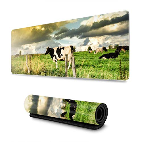Farm Cows Landscape Gaming Mouse Pad XL Extended Large Mouse Mat Desk Pad Stitched Edges Mousepad Long Non-Slip Rubber Base Mice Pad 31.5 X 11.8 Inch