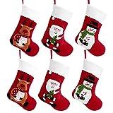 TOYANDONA Medias de Navidad de Fieltro Rojo Bolsa Bolsa de Azúcar Calcetines Bordados Decoración Santa Claus Media 6 Piezas
