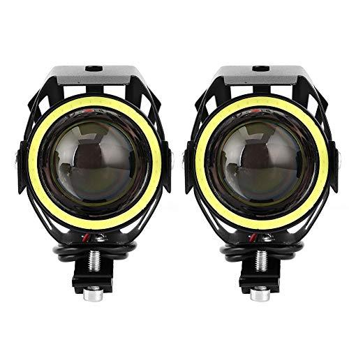 Akozon ojos de Angel 2PCS 12V 125W 3000lm U7 LED Proyector Luz blanca IP68 Faro de motocicleta con interruptor