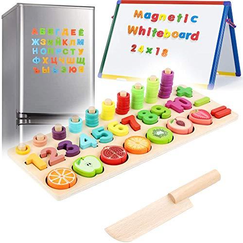 3 en 1 Juego Educativos Magnéticos de Madera para Niños Pequeños Juego Montessori Magnéticos para 3 4 5 Niñas Niños, Abc Tablero Clavijas Rompecabezas Rompecabezas Letras Regalo de Educación Temprana