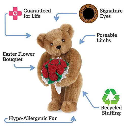 Vermont Teddy Bear Teddy Bears Stuffed Animals - Rose Teddy Bear, 15 Inch, Classic
