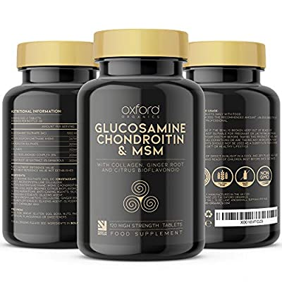 Glucosamine and Chondroitin MSM Tablets High Strength | 120 Glucosamine Sulphate Tablets - with Collagen, Citrus Bioflavonoid and Ginger Root Extract | MSM Supplements Men and Women | Made in The UK