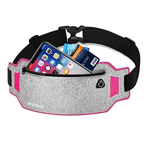 EXski Bauchtasche Flache Lauftasche Jogging Handy Gürteltasche Leicht Sport Hüfttasche Laufen für iPhone X 8 7 Plus Samsung 6,1 Zoll Damen Herren, Rot