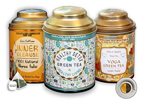 Sancha Tea Boutique Immunity Tea Bundle, Green Tea, Yoga Tulsi Tea & Inner Cleanse (Herbal), 100% Biodegradable Tea Bags, Value Pack, Tea Assortment