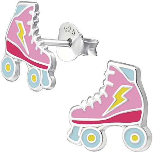 JAYARE Rollschuh Ohrstecker für Kinder 925 Sterling Silber 9 mm rosa-pink blau Roller Skate Mädchen-Ohrringe Kinderschmuck