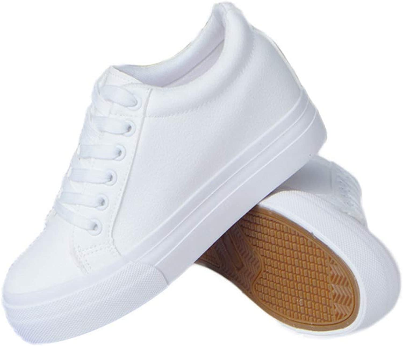 Lelehwhge Women Slim Wedge White Platform Sneaker Female Fashion Wedges High Platform Casual shoes White 6 M US