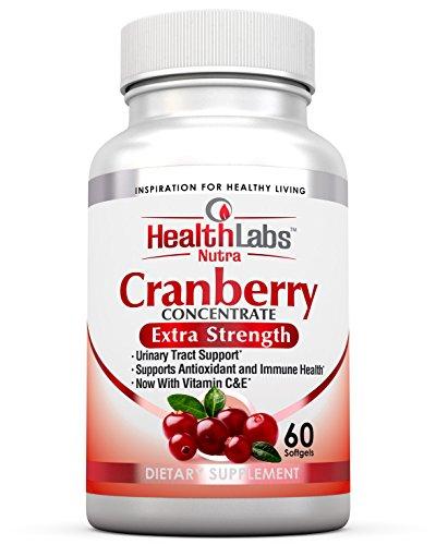 Health Labs Nutra 50:1 Concentrado triple de arándano (Cranberry Concentrate) con vitaminas C & E - Promueve el soporte al tracto urinario y el soporte inmunológico (60 cápsulas de acción rápida)