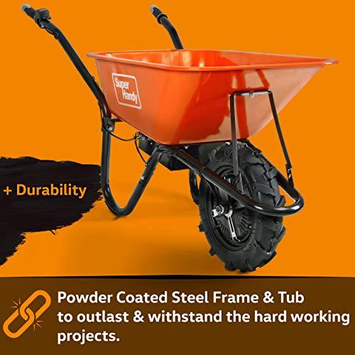 SuperHandy Wheelbarrow Electric Powered Utility Cart 24V 12Ah 500W 330LBS (150kgs) Capacity Material Debris Hauler