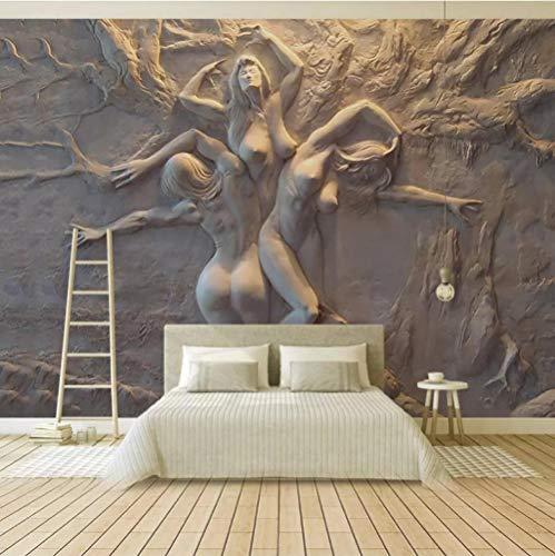 3D Tapete Statue Frau Fototapete Abstrakt Vlies Wand Tapete Wandbilder Wohnzimmer Schlafzimmer Kinderzimmer Dekoration Moderne Wanddeko, 300x210 cm