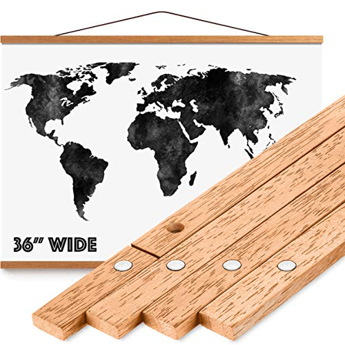 "Magnetic Poster Hanger Frame 36"" - Premium Quality Wood, Extra Strong Magnets, Quick & Easy Setup, Full Hanging Kit for Wall Art/Prints/Canvas/Photos/Pictures/Artwork/Scratch Map (36x24 36x48 36x12)"