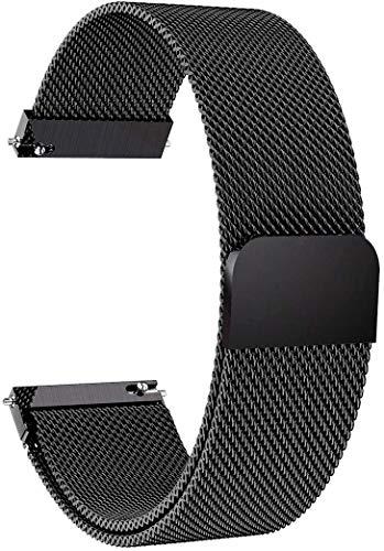 Morsey Galaxy Watch 3 45mm/Samsung Galaxy Watch 46mm/Gear S3 Frontier/Classicバンド 22mm ステンレススチールストラップ Ticwatch Pro/Samsung Galaxy Watch 46mm スマートウォッチ用 (ブラック)