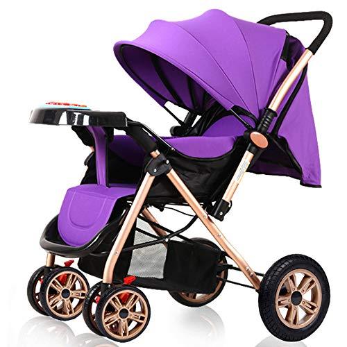 Kinderwagen, opvouwbare opvouwbare schokdemping, kan het vliegtuig nehmen, 1-staps vouwen, geschikt voor 0-36 maanden baby paars