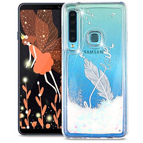 FNBK Funda compatible con Samsung Galaxy A9 2018, funda con purpurina, funda para teléfono móvil de lujo, suave, de TPU, de silicona, diseño de flores, Weiße Feder 8 Wörter