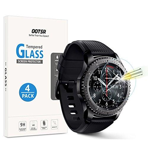 OOTSR [Lot de 4] Verre Trempé Protection D'écran pour Samsung Gear S3 Frontier/Classic, Films de Protection Écran pour Samsung Gear S3 Classic/Frontier [Haute définition]