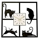 Bits and Pieces - Cats in the Window - Cat-themed Hanging Wall Clock - Great Home Décor Gift - Measures 45cm Square by Bits and Pieces