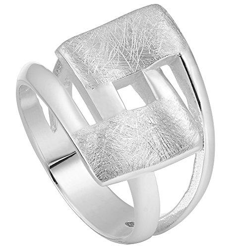 Vinani Ring Design Viereck geschwungen gebürstet massiv Sterling Silber 925 Größe 56 (17.8) 2RHL-56