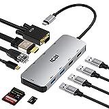 USB C Hub, ICZI Aluminum 10-in-1 USB C Adapter mit 4K HDMI, VGA, 4 USB 3.0, RJ45 Gigabit Ethernet,...