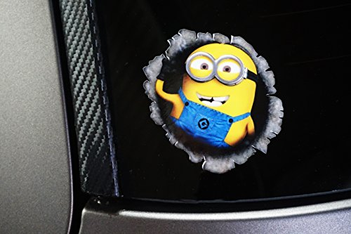Minion Aufkleber- 3D optik-Digitaldruck-Schussloch