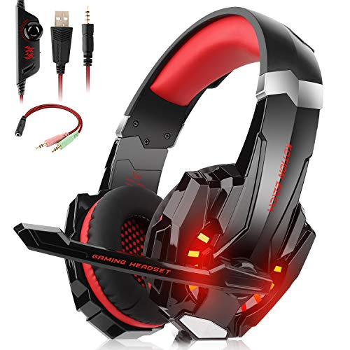 Willnorn Stereo Gaming Headset with Mic for PS4,Xbox One,PC,Mac/Noise Cancelling Wired Over-Ear Headphones with Microphone & Volume Control,3.5mm Jack,LED Lights, Bass Surround(Red)